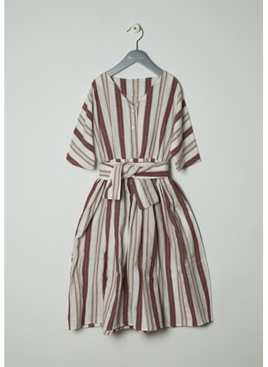Pinolini Çizgili Keten Elbise Renkli
